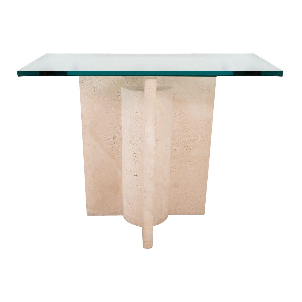 Geometric Motif Travertine Console Table