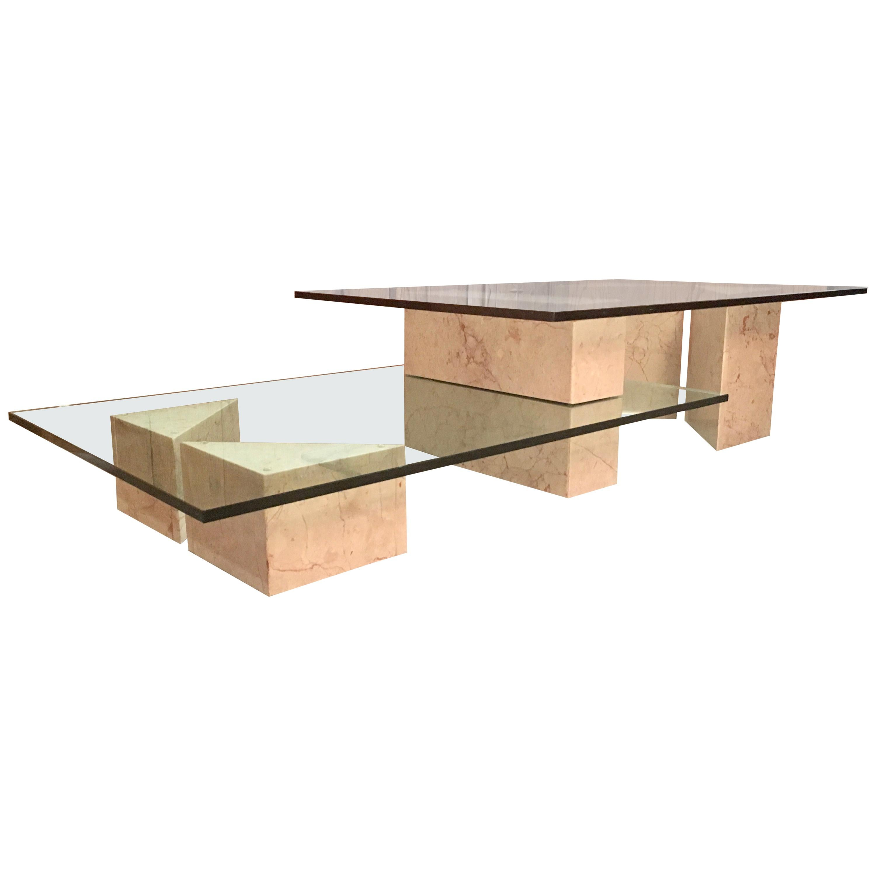 Geometric Multi-Level Marble and Glass Coffee Table