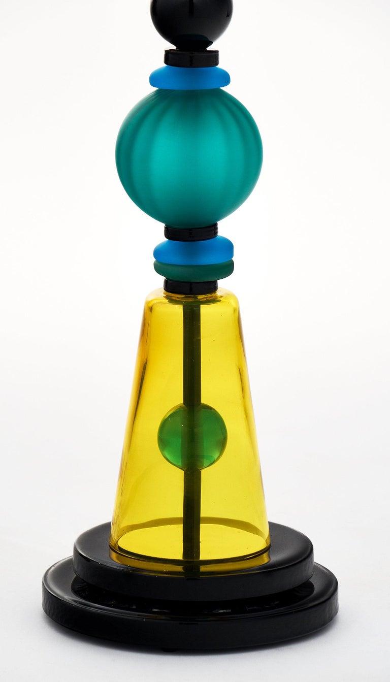 Late 20th Century Geometric Murano Glass Lamp For Sale