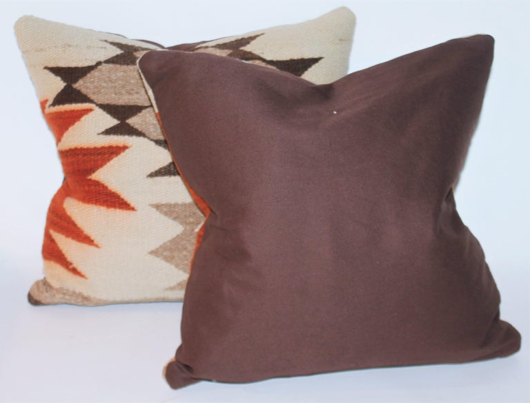 Geometric Navajo Indian weaving pillows in good condition. Brown cotton linen pillows. Sold as a pair.