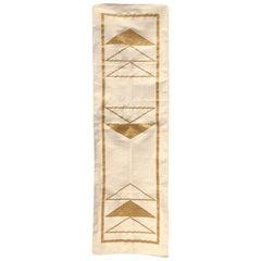 Geometric Nicole Handwoven Modern Gold Runner Rug, Carpet, Durrie