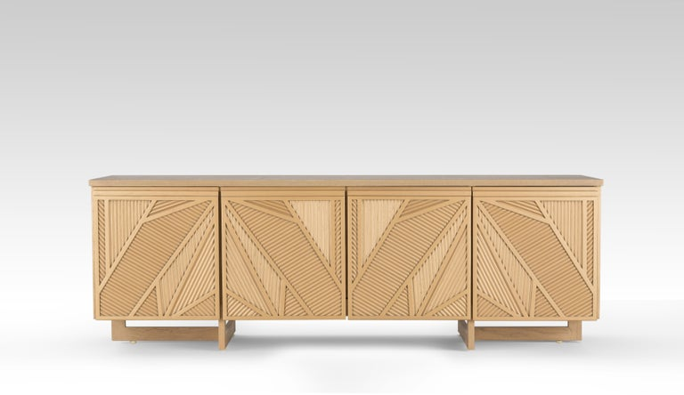 Geometric Oak Sticks TV Unit Inspired from Ancient Egypt Use of Palm Branches.  Our uniqueCool Palm TV unit is made of stained Oak wood sticks manifesting the use of woven palms in the Egyptian heritage. The dynamic pattern of the cabinet will