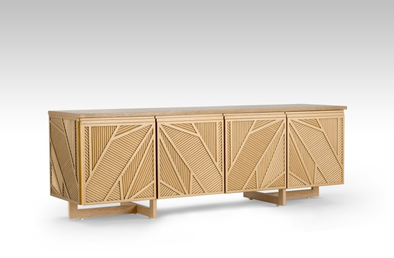 Modern Geometric Oak Sticks TV Unit Inspired from Ancient Egypt Use of Palm Branches For Sale