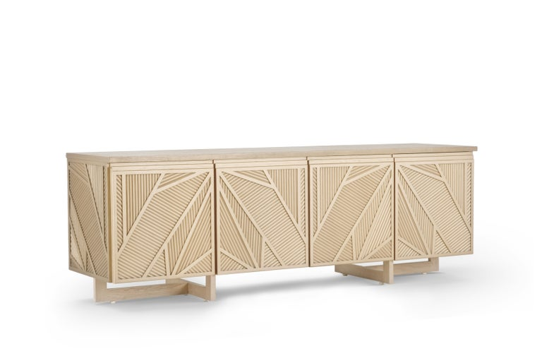 Egyptian Geometric Oak Sticks TV Unit Inspired from Ancient Egypt Use of Palm Branches For Sale
