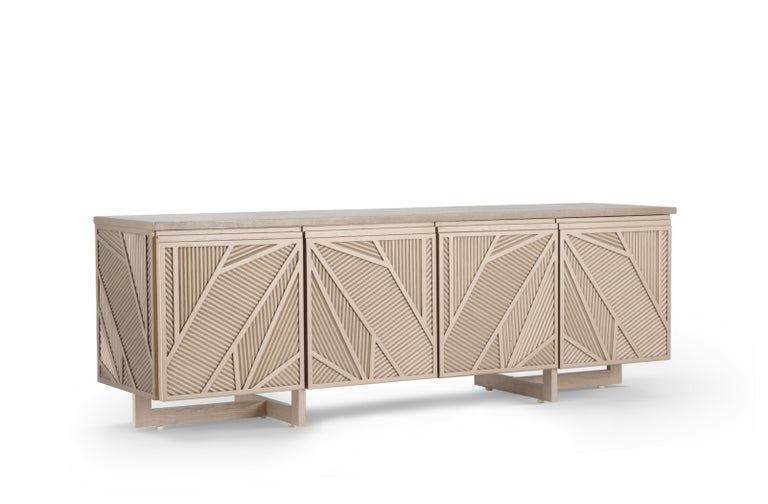 Stained Geometric Oak Sticks TV Unit Inspired from Ancient Egypt Use of Palm Branches For Sale