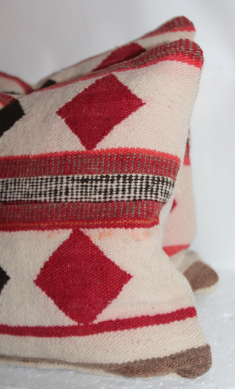 American Geometric Pair of Navajo Indian Pillows For Sale