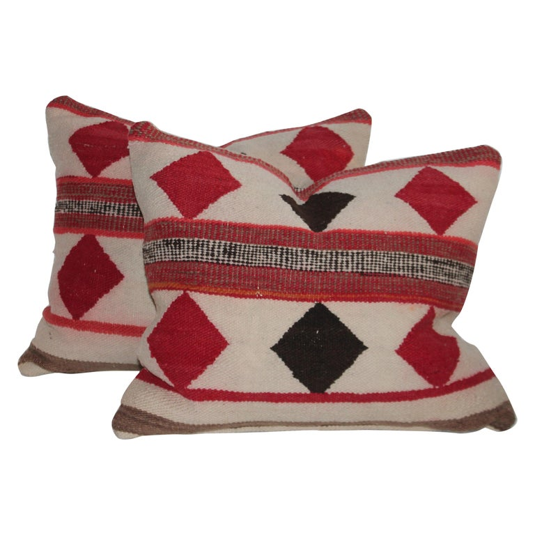Geometric Pair of Navajo Indian Pillows For Sale
