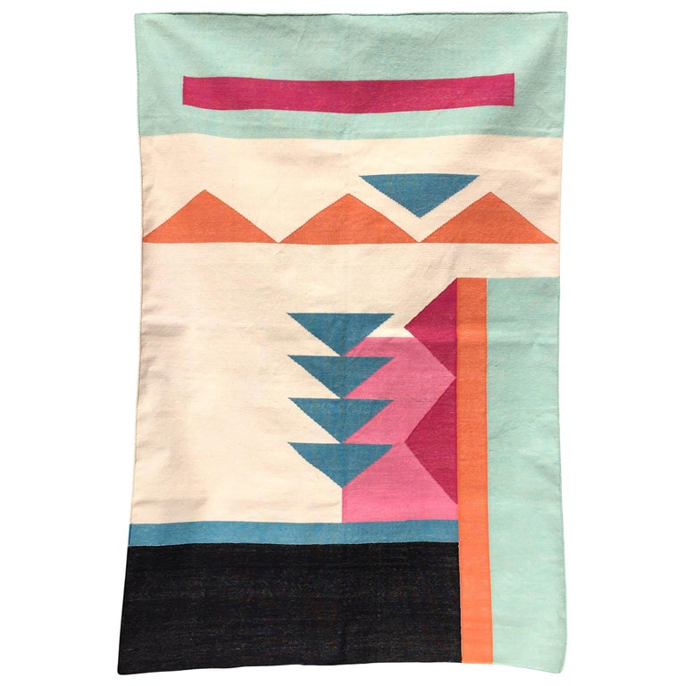 Geometric Paola Handwoven Modern Cotton Rug, Carpet and Durrie For Sale