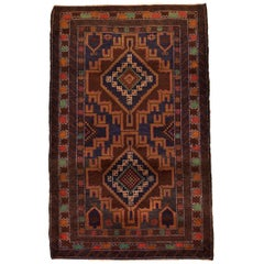 Geometric Persian Balouchi Carpet in Blue, Gold, Brown, and Red Wool