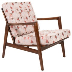 Geometric Pink Print Velvet Armchair, 1960s, Poland