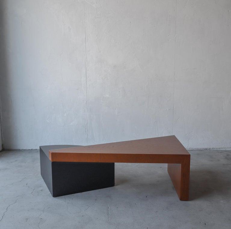 Post-Modern Geometric Post Modern 2 Tier Oak Coffee Table For Sale