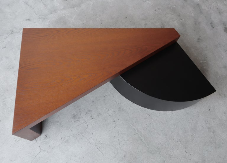 Geometric Post Modern 2 Tier Oak Coffee Table In Excellent Condition For Sale In Las Vegas, NV