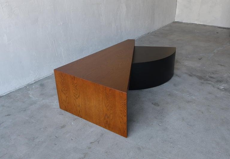 20th Century Geometric Post Modern 2 Tier Oak Coffee Table For Sale