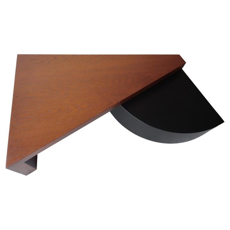 Geometric Post Modern 2 Tier Oak Coffee Table For Sale