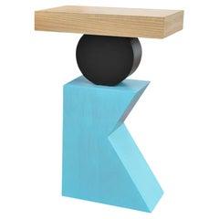 Geometric Postmodern Handmade Walnut Blue and Black Side or End Table