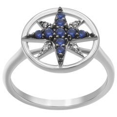 Geometric Precious Star Blue Sapphire Diamond White Gold Ring