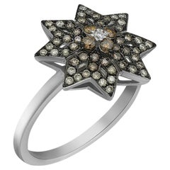 Geometric Precious Star Cognac Diamond White Gold Gift Ring