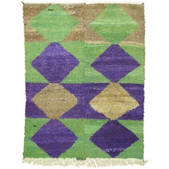 Geometric Purple Green Vintage Turkish Shag Rug