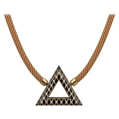 Geometric Pyramid Shaped Rose Gold Inlaid Pendant by Zoltan David