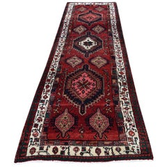 Geometric Red Vintage Persian Hamadan Wide Runner Pure Wool Hand Knotted Orienta