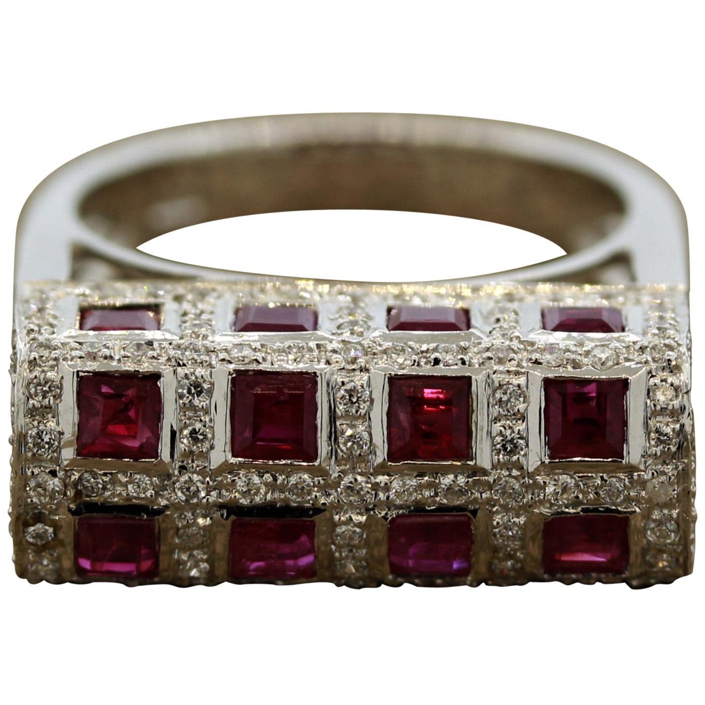 Geometric Ruby Diamond Gold Ring