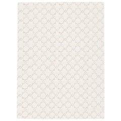 Geometric Rug Silk and Wool Soft Gray Colors