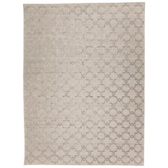 Geometric Rug, Soft Gray Design, Silk and Wool on Gray Colors