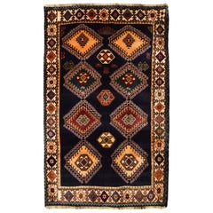 Geometric Semi Antique Blue Persian Qashqai Carpet with Gold and Green