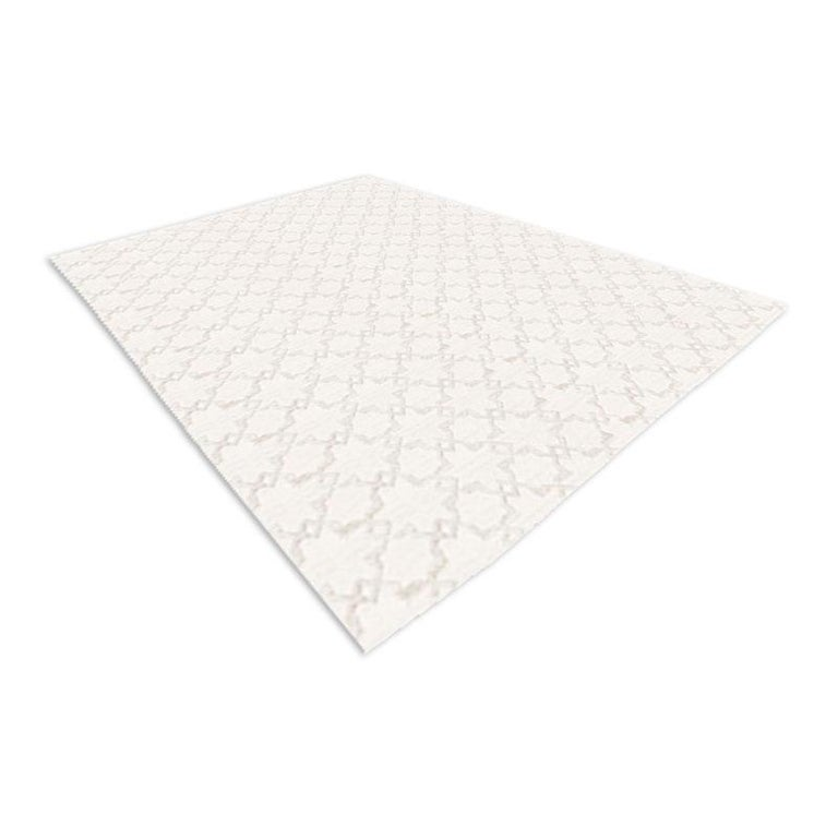 Modern Geometric Silk and Wool Soft Gray Rug For Sale