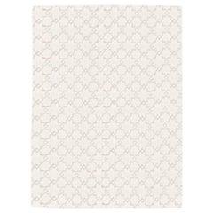 Geometric Silk and Wool Soft Gray Rug