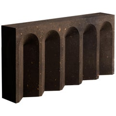 Geometric Source Console Table No.2 in Black Tuff Volcanic Rock by A Space