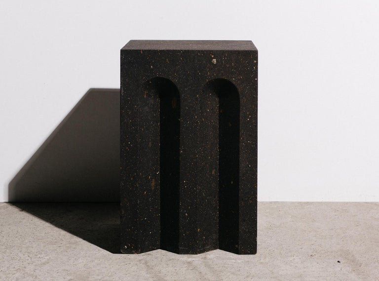 Modern Geometric Source Side Table No.5 in Black Tuff Volcanic Rock by A Space For Sale