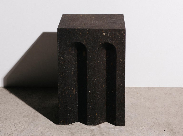 Armenian Geometric Source Side Table No.5 in Black Tuff Volcanic Rock by A Space For Sale