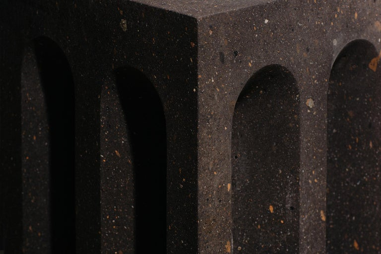 Geometric Source Side Table No.5 in Black Tuff Volcanic Rock by A Space In New Condition For Sale In Brooklyn, NY