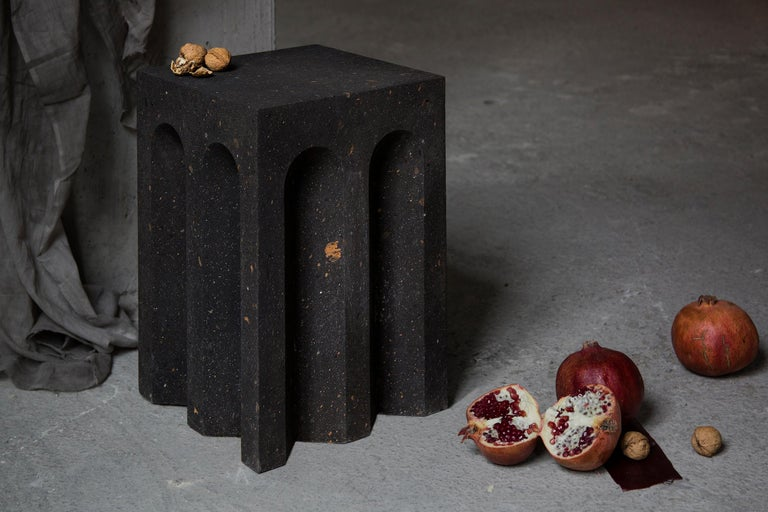 Contemporary Geometric Source Side Table No.5 in Black Tuff Volcanic Rock by A Space For Sale