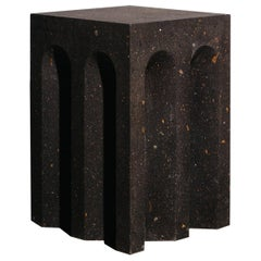 Geometric Source Side Table No.5 in Black Tuff Volcanic Rock by A Space