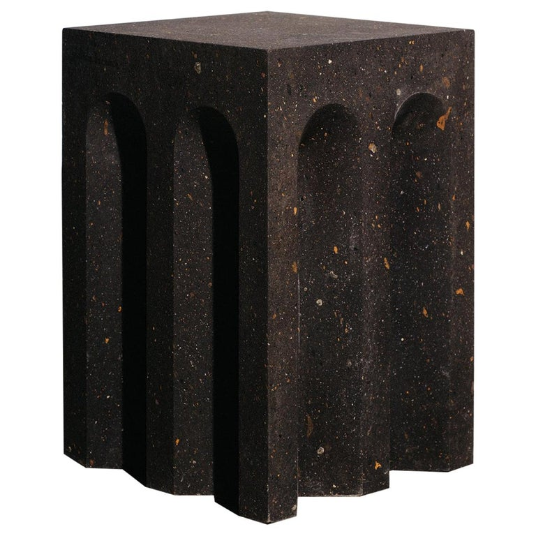 Geometric Source Side Table No.5 in Black Tuff Volcanic Rock by A Space For Sale