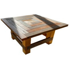Geometric Square Rustic Wood Coffee Table