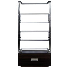 Geometric Stainless Steel Bookcase with Macassar Base