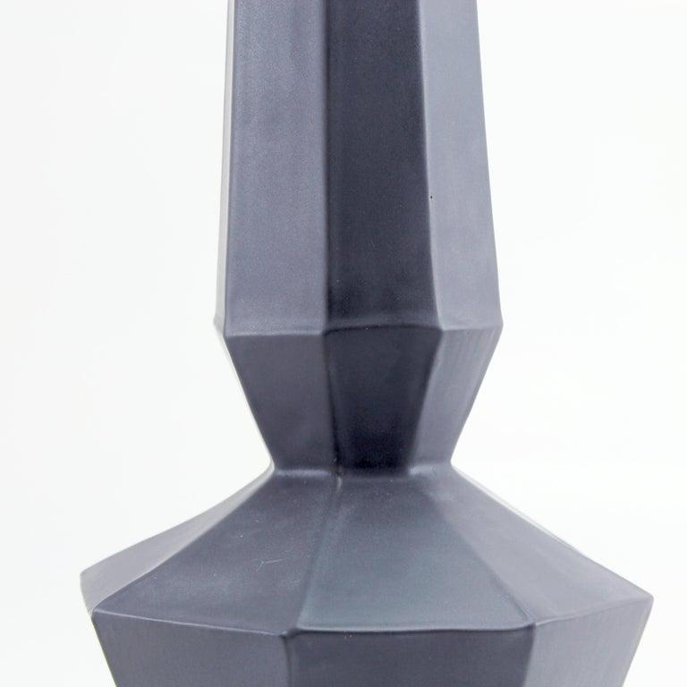 Mid-Century Modern Geometric Statement Vase Charcoal Matte Black Faceted Porcelain Modern Minimal For Sale