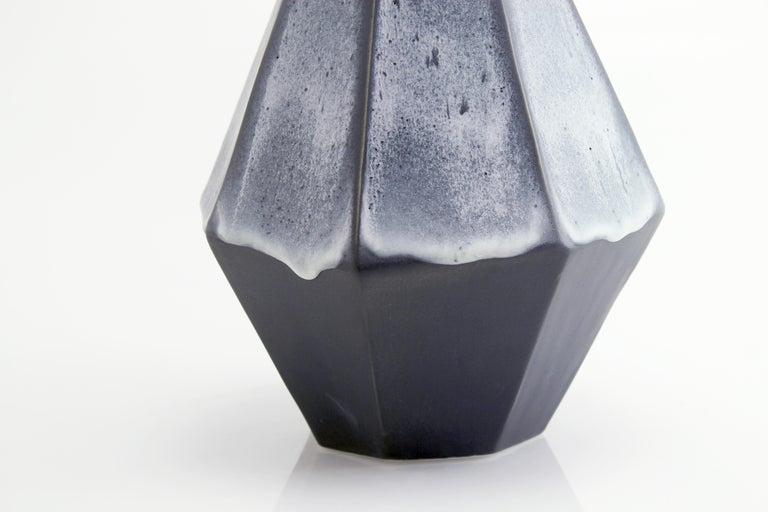 Geometric Statement Vase Charcoal Matte Contemporary Porcelain Minimalism For Sale 1