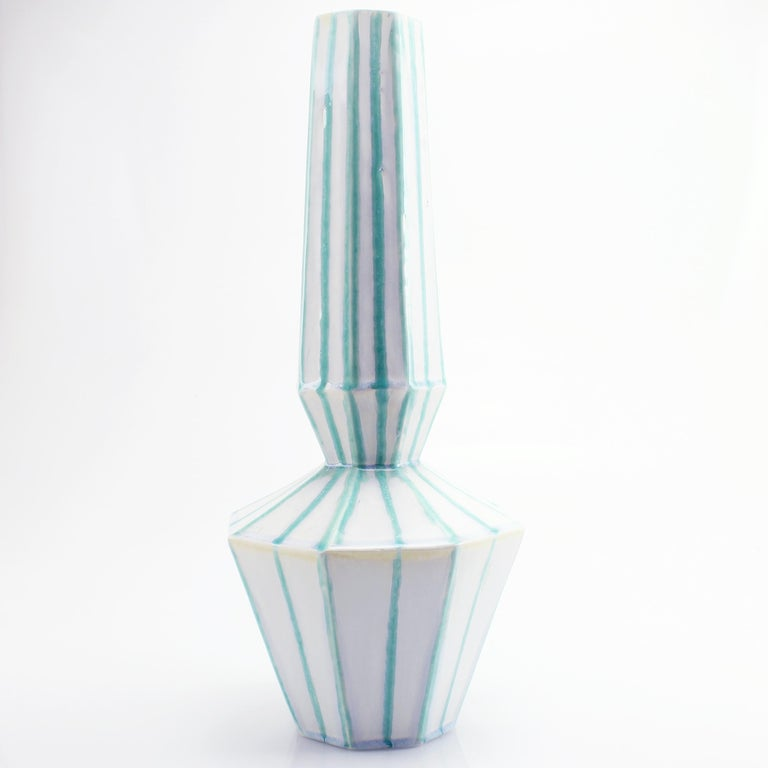 Geometric Statement Vase Green and White Stripes Faceted Porcelain Art Deco In New Condition For Sale In Asheville, NC