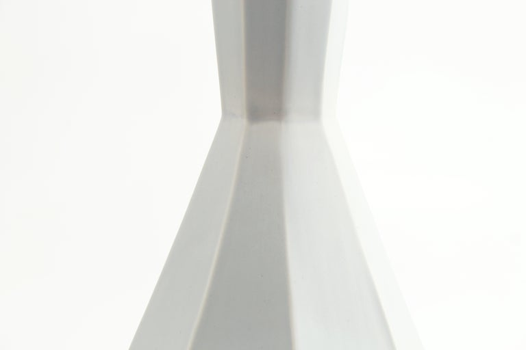 Geometric Statement Vase Smoke Grey Contemporary Porcelain Minimalist 3