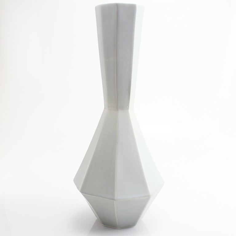 Geometric Statement Vase Smoke Grey Contemporary Porcelain Minimalist 4