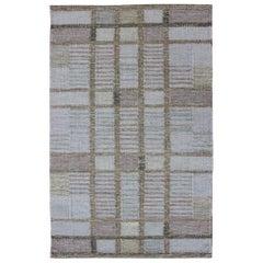 Geometric Stripe Block Modern Scandinavian Flat-Weave Design Rug in Gray Tones