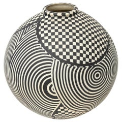 Geometric Studio Ceramic Op Art Sculpture Bowl Vessel Vintage