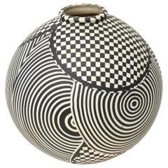 Geometric Studio Ceramic Op Art Sculpture Bowl Vessel Vintage