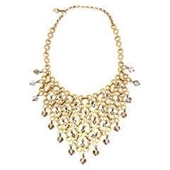 Geometric Swarovski Faceted Crystal Bib Necklace French Vintage Paco Rabanne Att