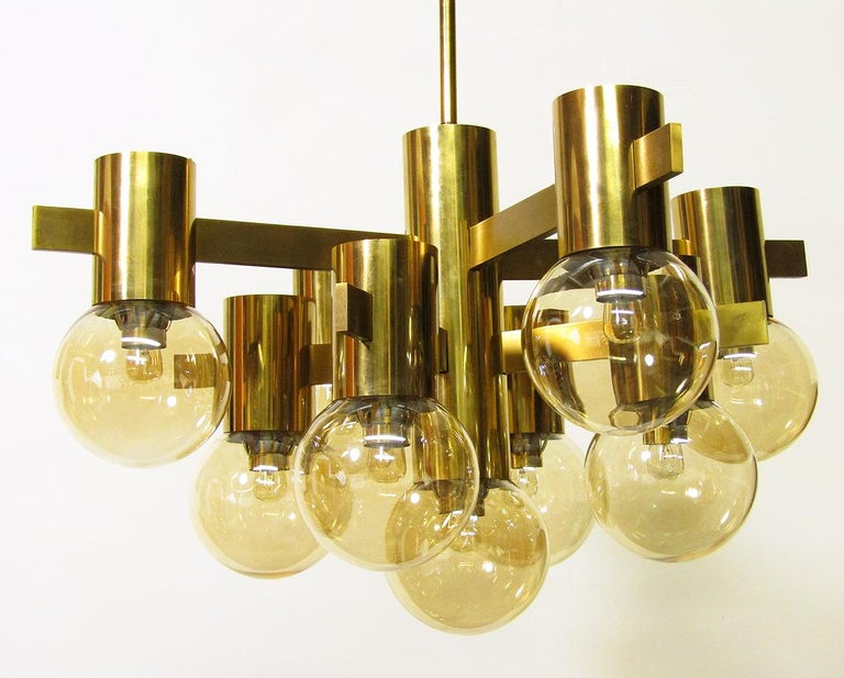 20th Century Geometric Swedish 1970s Chandelier in Brass and Glass by Hans-Agne Jakobsson For Sale