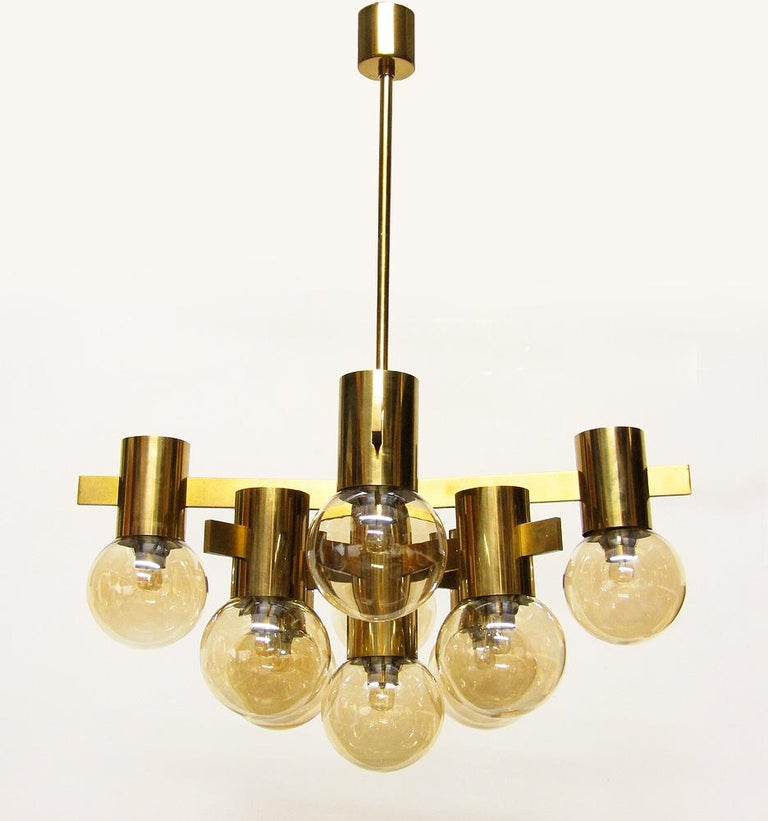 Geometric Swedish 1970s Chandelier in Brass and Glass by Hans-Agne Jakobsson For Sale 1